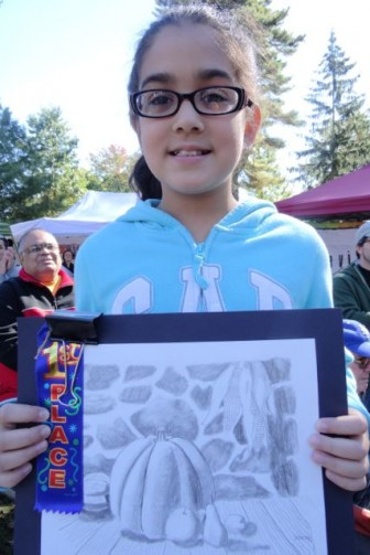 Aayushi Shah won first place in Faber Schhol Category, 2014 HarvestFest Art Contest, Dunellen NJ.