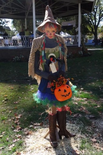 harvest festival scarecrow witch with crows