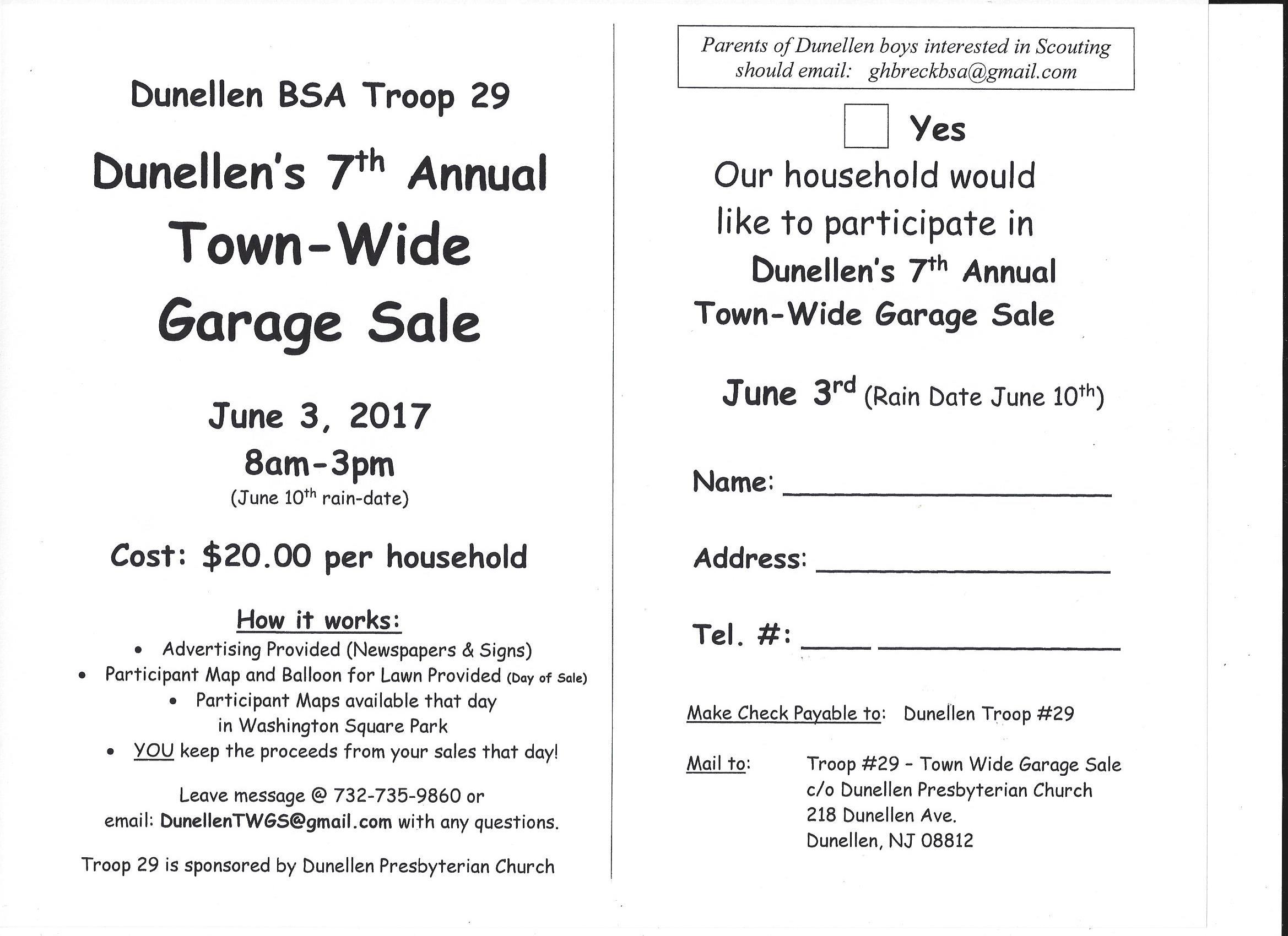 BSA Troop 29 Town-Wide Garage Sale